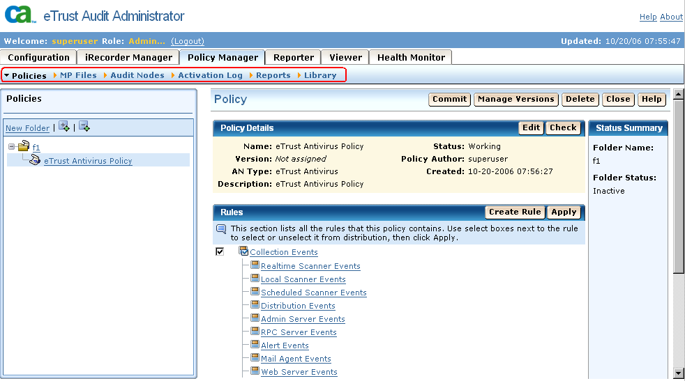 Web-based User Interface New Policy Manager Interface The new Policy Manager interface lets you perform tasks related to