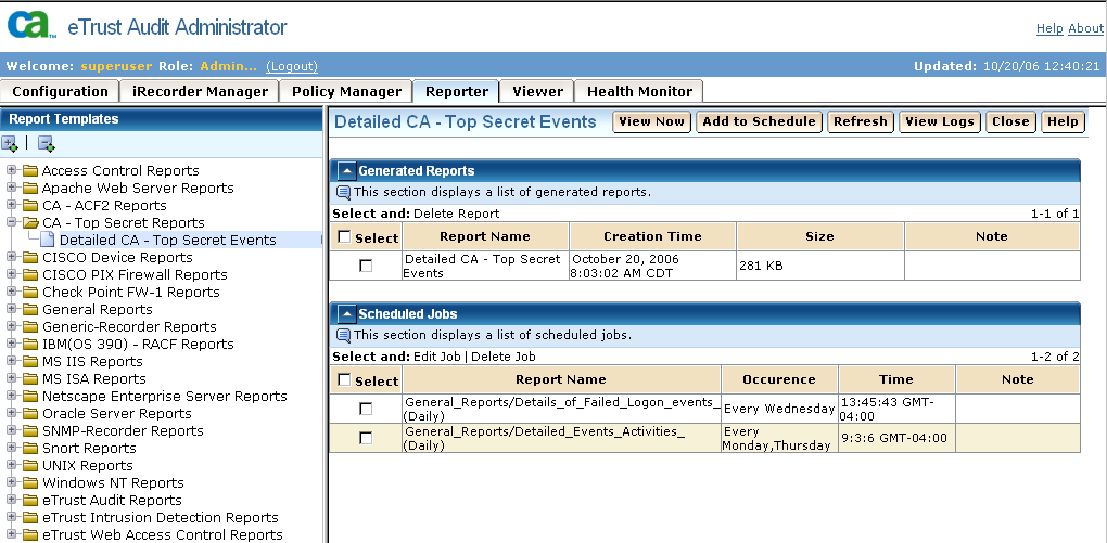 Web-based User Interface New Reporter Interface The new Reporter utility interface lets you view selected data from etrust Audit event databases in the form of graphic or detailed reports.