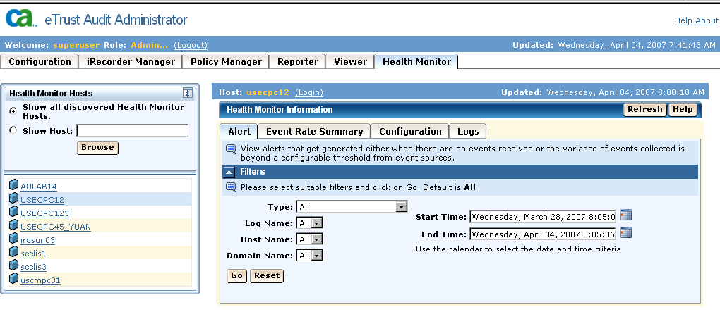Web-based User Interface New Health Monitor Interface The new Health Monitor Utility lets you search and display Health Monitor hosts in your environment, as shown in the following illustration.