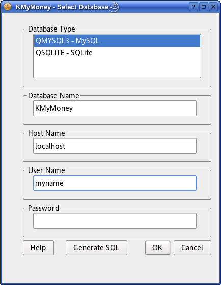Database Type This box lists all QtTM SQL drivers installed on your system. Select the driver for your database type.