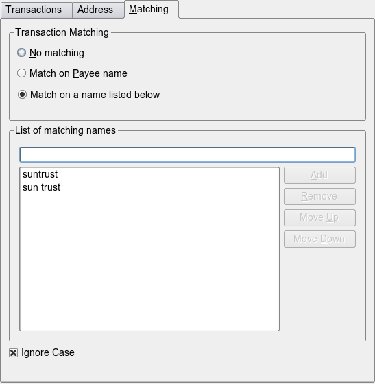 Setting up From the Matching tab, you can set the Transaction Matching Settings. You have 3 major options: No Matching. Disables the feature for this payee. This is the default setting for all payees.