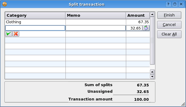 To enter a split transaction, using either the transaction input form or the transaction list, start a new transaction as normal, including entering the total amount.