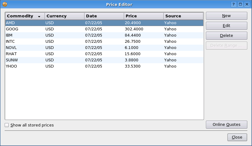 Exchange rates for currencies Entering prices manually The price database editor allows you to enter exchange rates between currencies or prices for investments.