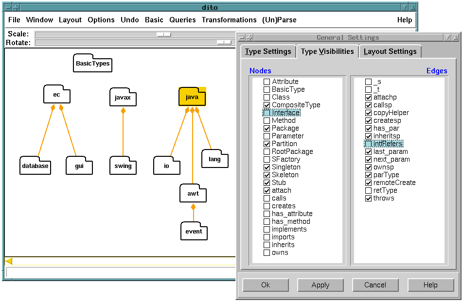 8.1. THE ENTRY/COLLECTION SYSTEM 161 Figure 8.2: Analysis of the Structure Filtered check mark in the configuration dialog. node_class NAMESPACE is_a OBJECT intrinsic nodeisvisible : integer := 1;.