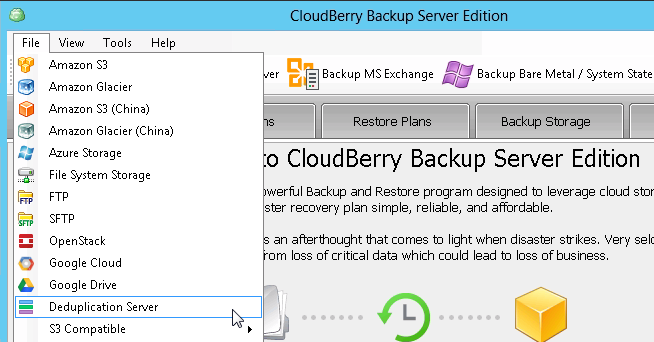 How to Setup CloudBerry Backup with Dedup Install CloudBerry Backup (e.g. Server Edition: http://www.cloudberrylab.com/amazons3-windows-server-backup.