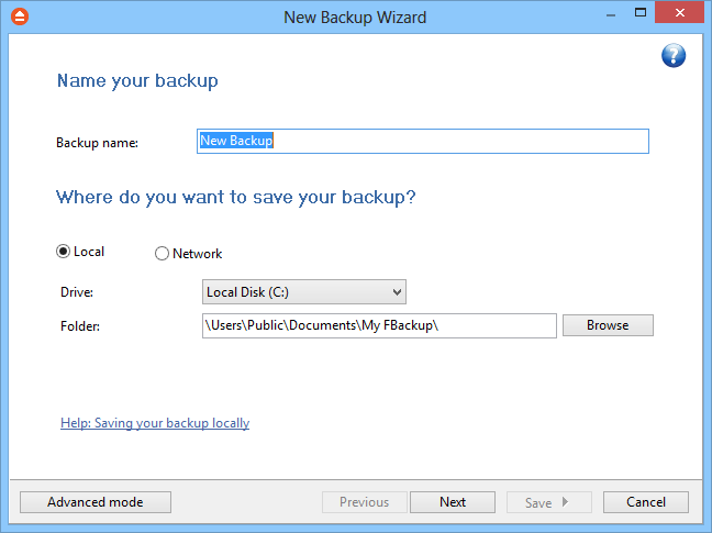 10 FBackup 5 2 Getting Started 2.1 How to Configure a New Backup? To create a new backup job, click on the New Backup Wizard toolbar button ( ).