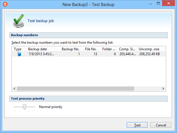 16 FBackup 5 In the test window, select the backup versions you wish to test and press the Test button.