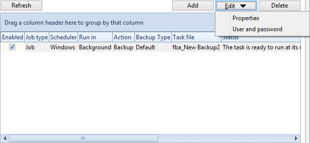 18 2.7 FBackup 5 How to Schedule a Backup? You can schedule a backup from the Backup Properties window.