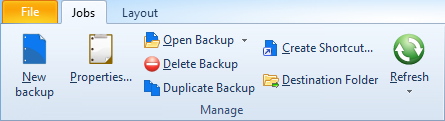 24 FBackup 5 Manage - this group includes the buttons necessarily to manage the backup jobs.