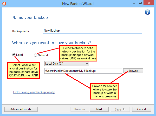 New Backup Wizard 41 In the Folder where to perform the backup field by default it is the path to the My FBackup 5 folder (\Users\<user name>\documents\myfbackup 5).