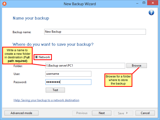 42 FBackup 5 Click the Browse button and go through the My Network Places to select a destination where the backup will be stored. You can also enter network paths in the Folder field.