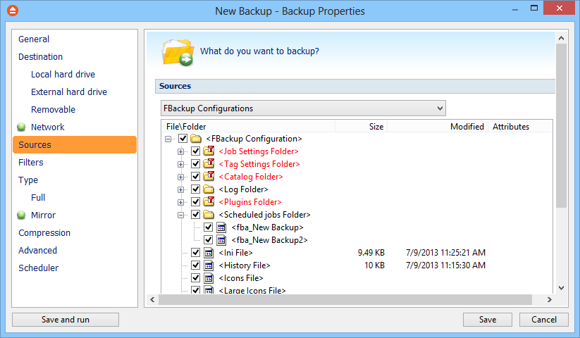 Backup Properties 55 User name and Password to access the network destination if it requires authentication.