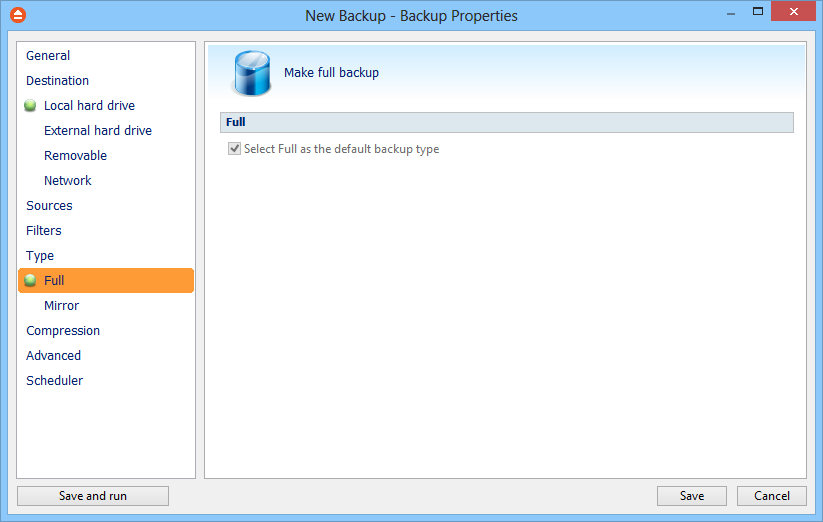 60 6.7.1 FBackup 5 Full Full backup is the starting point for all other backups, and contains all the data in the folders and files that are selected to be backed up.