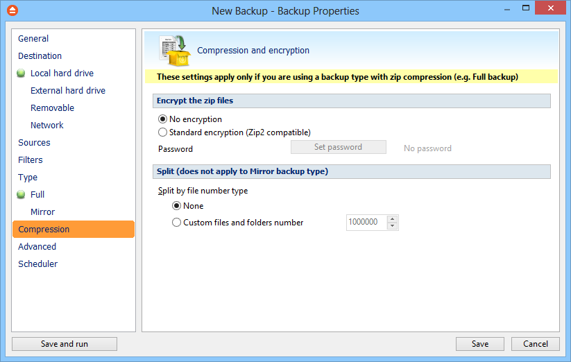 62 6.8 FBackup 5 Compression On the Compression page, you can configure the compression and encryption settings.