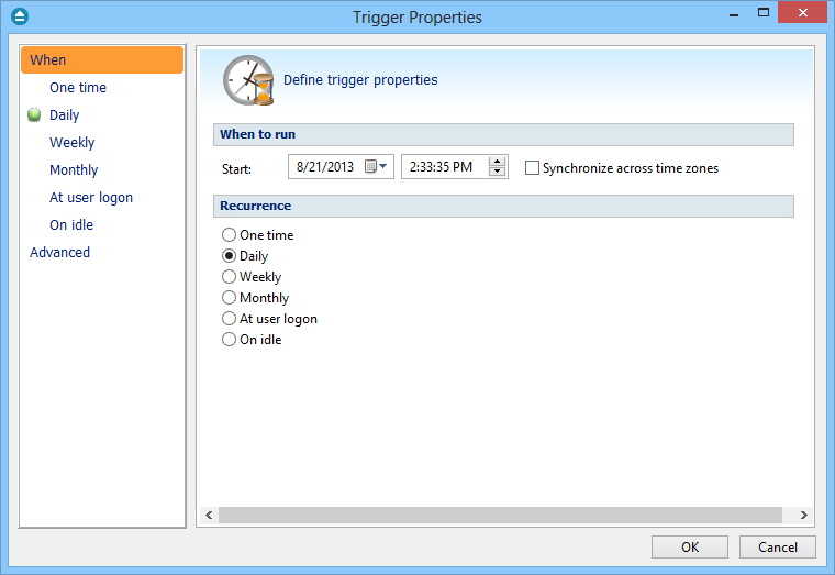 Backup Properties 67 Pressing Add or Edit button will open the Trigger Properties window. When -here you can select when to run the task: one time, daily, weekly, monthly, at user logon or on idle.