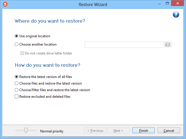 78 FBackup 5 7 Restore Wizard 7.1 Where and how to restore Using the Restore Wizard you can restore from a backup job.