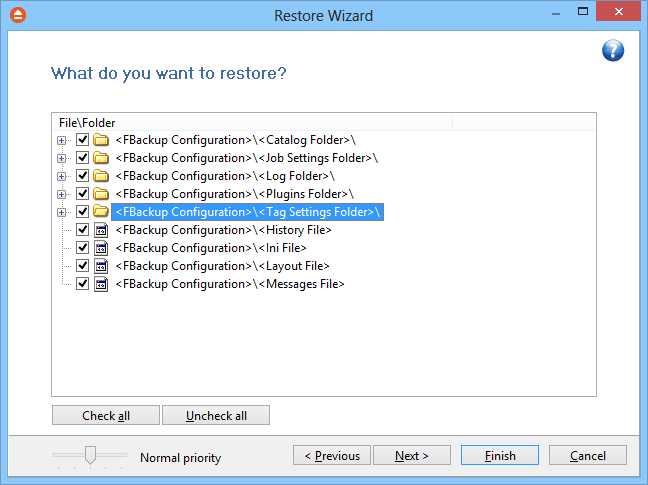 80 FBackup 5 excluded from the backup. 7.2 What do you want to restore This is the second step of the Restore Wizard.