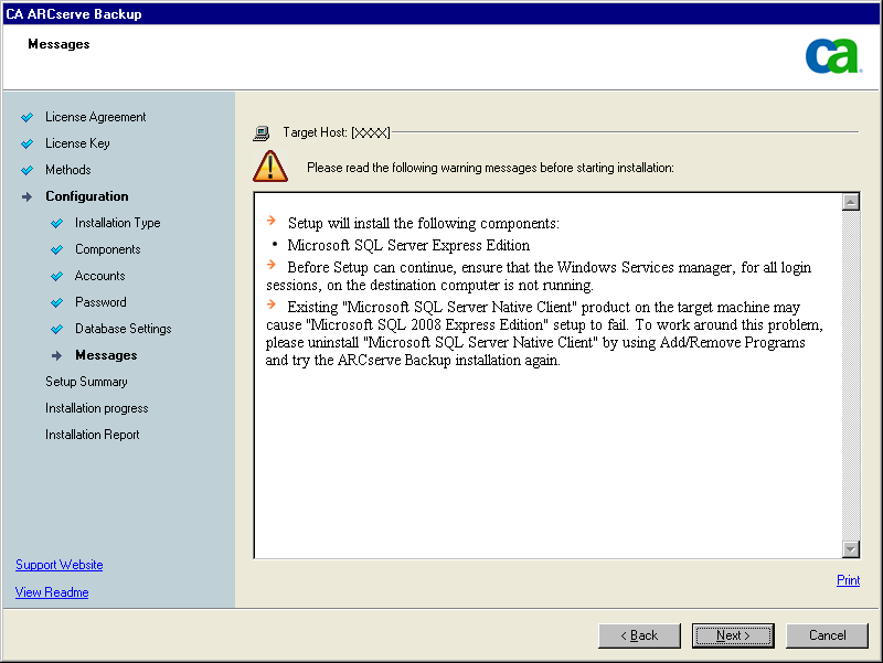 Deploy CA ARCserve Backup Server on NEC Cluster Messages dialog As you review the messages in the Messages dialog, you should attempt to resolve the problems at this time.