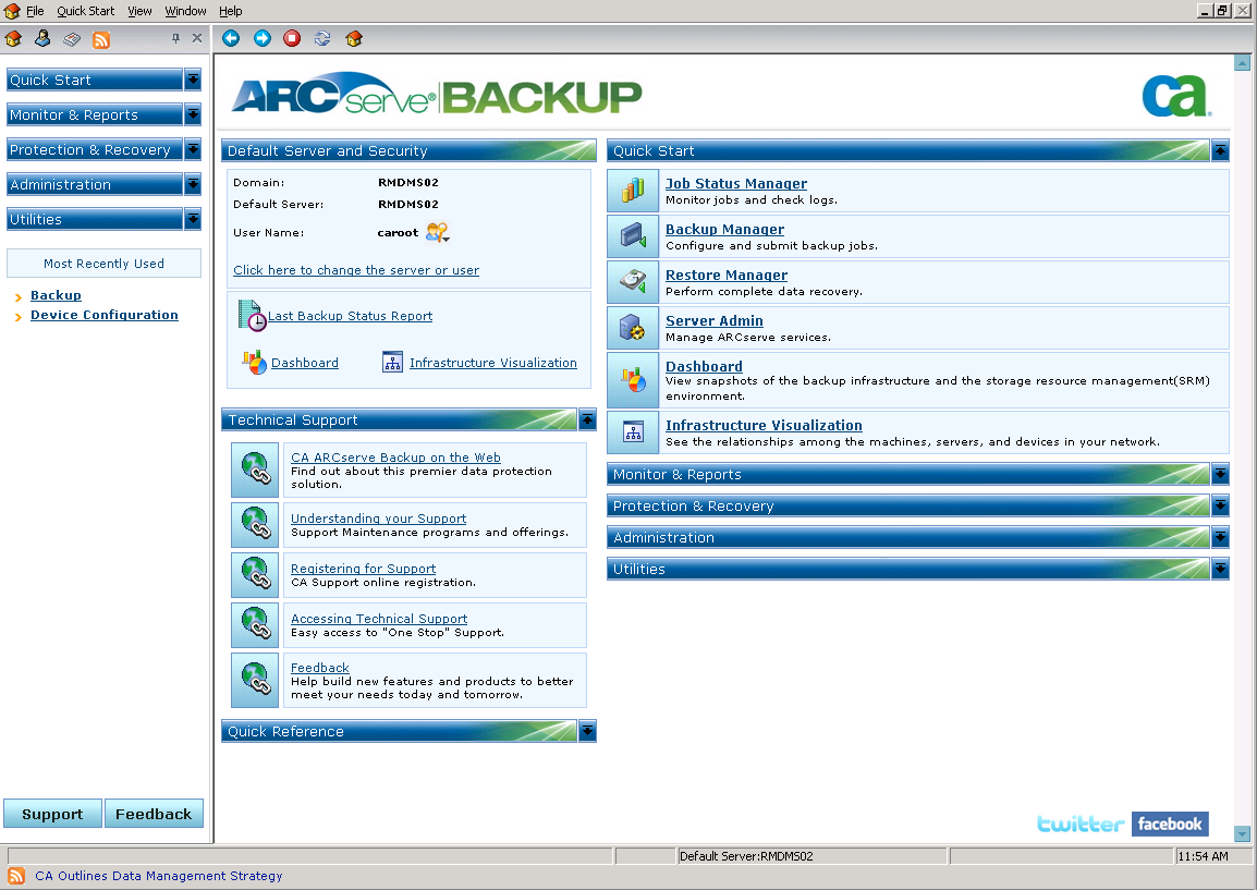 CA ARCserve Backup Home Page 4. Enter caroot in the User Name field, the appropriate password in the Password field, and click OK.