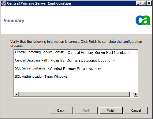 Configure Global Dashboard 6. Click Next. The central site Summary screen appears. 7.