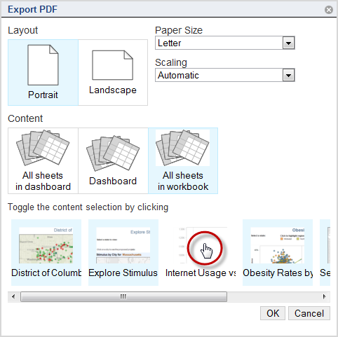 3. Choose whether to print the entire workbook, the selection dashboard or story, or only certain sheets.