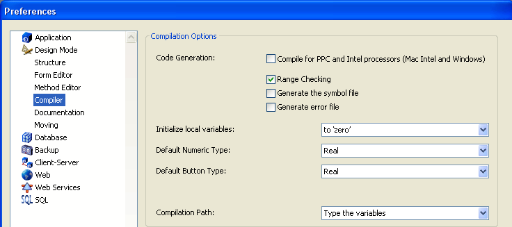 Unicode Default Alpha Type Option The Default Alpha Type compilation option on the Design Mode/Compiler page is removed when the database operates in Unicode mode: Compatibility mode (non-unicode)
