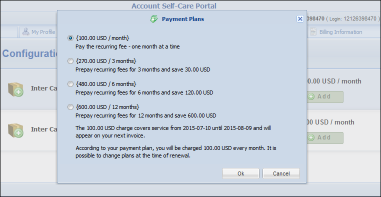Prepay Plan Self-management Starting with this release, end users can choose a prepay plan for subscriptions charged in advance or change the selected plan all by themselves.