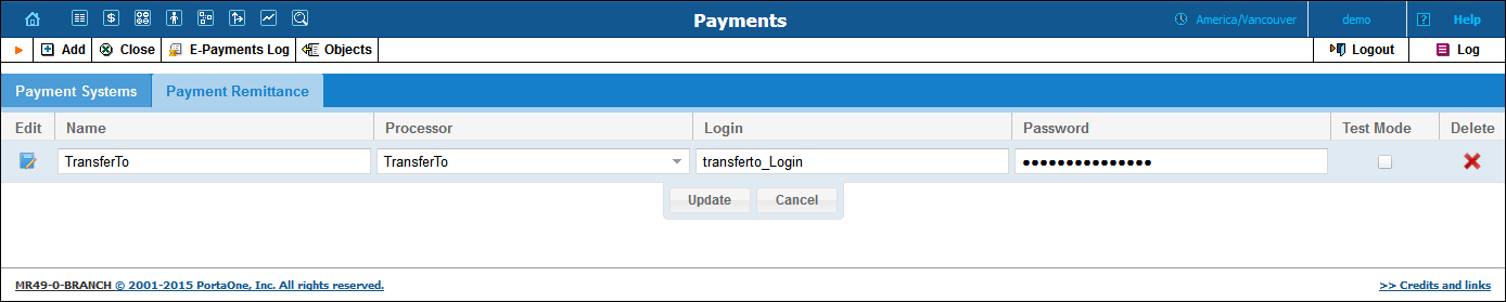 The Payments page retains a two-tab structure, with one tab devoted to payment systems and the second tab to payment remittance systems.