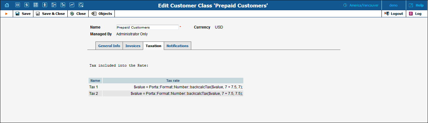 NOTE: To see tax formulas you need to save the customer class after you have selected the invoice template.