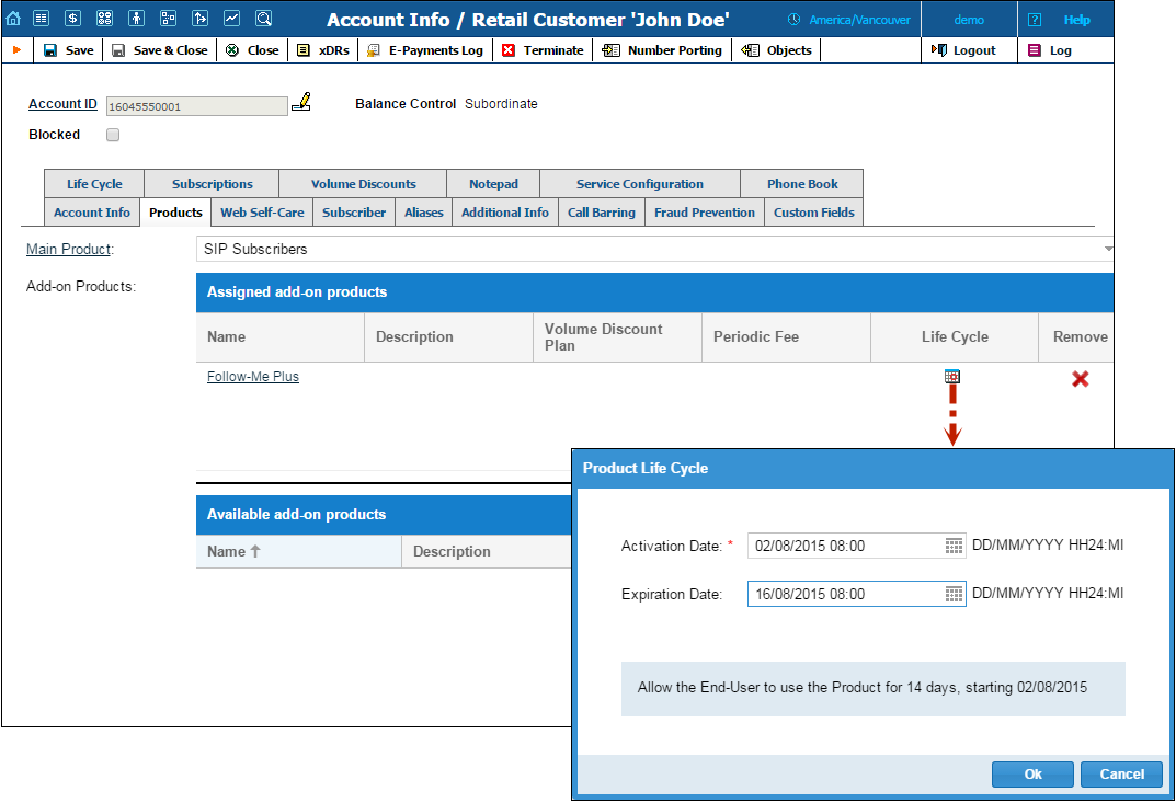 Life Cycle for Add-On Products With this release, a PortaBilling administrator can schedule the activation and expiration dates for add-on products.