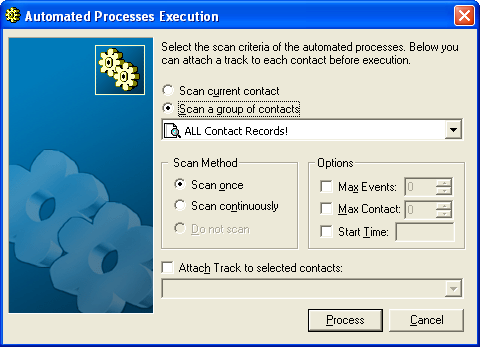 Administration 2. Select one: Scan current contact: GoldMine processes only the active contact, then returns to an idle mode.