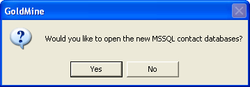 Administration Click Finish. The status dialog box appears. When complete, a message appears asking if you want to open this new database now. Click No.