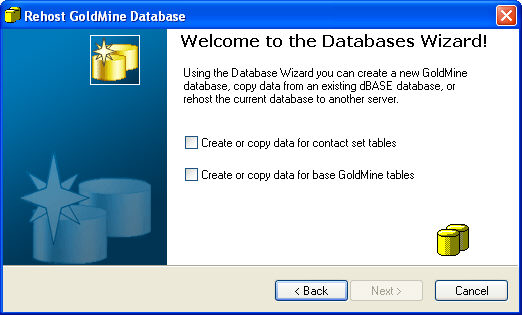 GoldMine Premium Edition Administrator Guide 3. Select the Copy data from a dbase database check box. 4. Click Next.