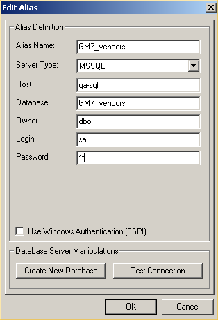 Administration 9. Complete the form: In the Alias Name text box, type GM7_Leads. From the Server Type drop-down list, select MSSQL (MSSQL and Firebird are available).