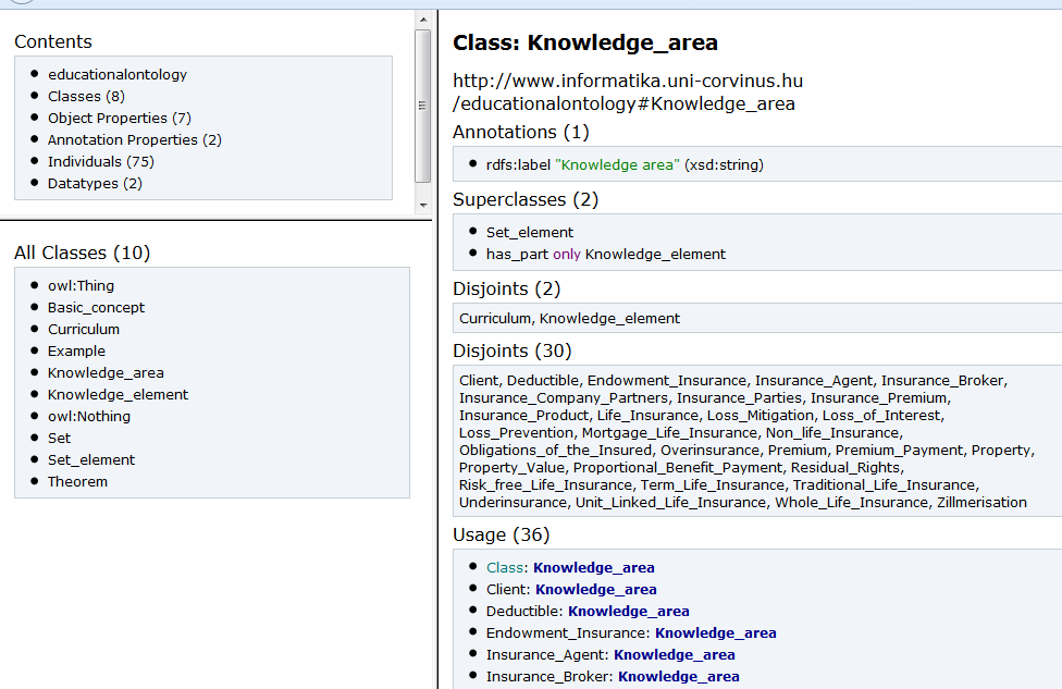 Figure 23: Instances of knowledge area in Insurance Ontology