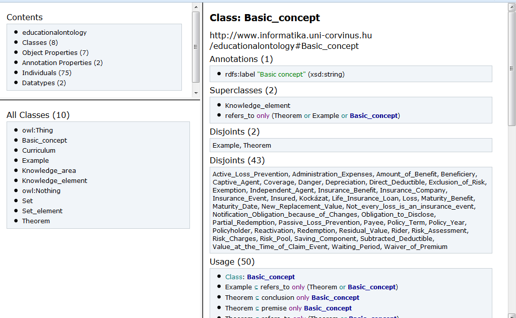 Main subclasses of basic concepts class can be seen in the following figure.