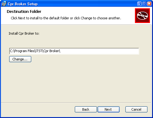 Installing CPR Broker Now you will see this screen. Choose where to install the files for CPR Broker.