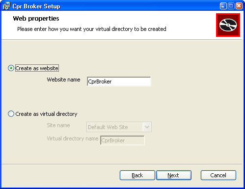 Installing CPR Broker If your IIS can have multiple sites (on e.g. Windows 2003 and 2008), type the name of the website to be created. The default name is fine.