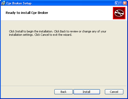 Installing CPR Broker Click Next. Now you will be prompted to enter the information for the web site and database of Event Broker. Please fill them as you did previously.