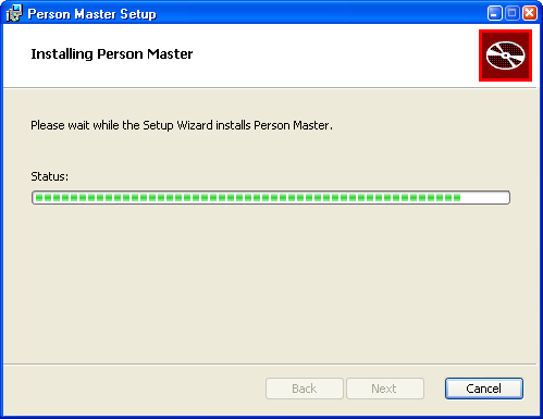 Installing Person Master Click Next. Now you have finished input of the needed information.