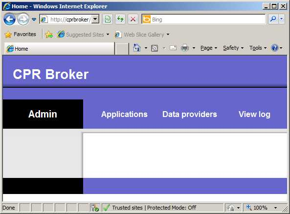 Configuring CPR Broker 6CONFIGURING CPR BROKER Open up a browser and point it to http://localhost/cprbroker/pages/applications.