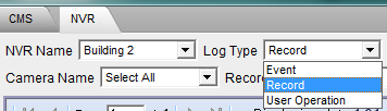For NVR, you may select Record, event or user operation as your log type filter. Fig.