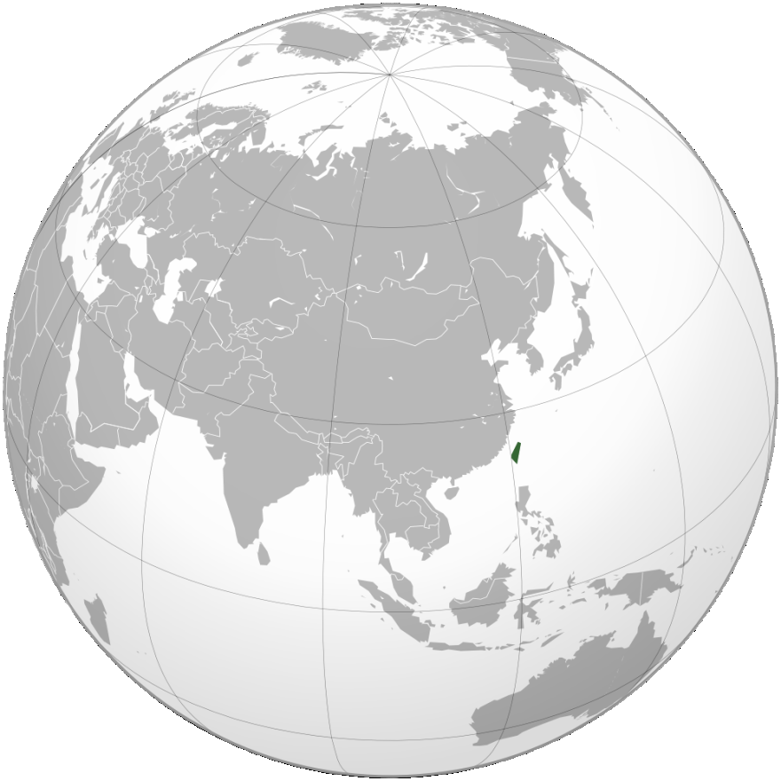 it is located to the southeast of China and to the north of the Philippines. In Figure 8, Taiwan can be seen highlighted in green, to the east of China.