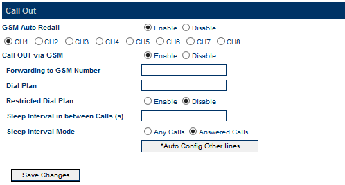 3.3.7 Call OUT The Call Out page defines how each GSM channel handles calls when they are routed from VoIP.