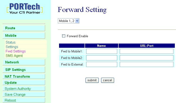 9.3 Mobile / Forward Setting : When the first route are busying, SIP can transfer phone call to another free route.