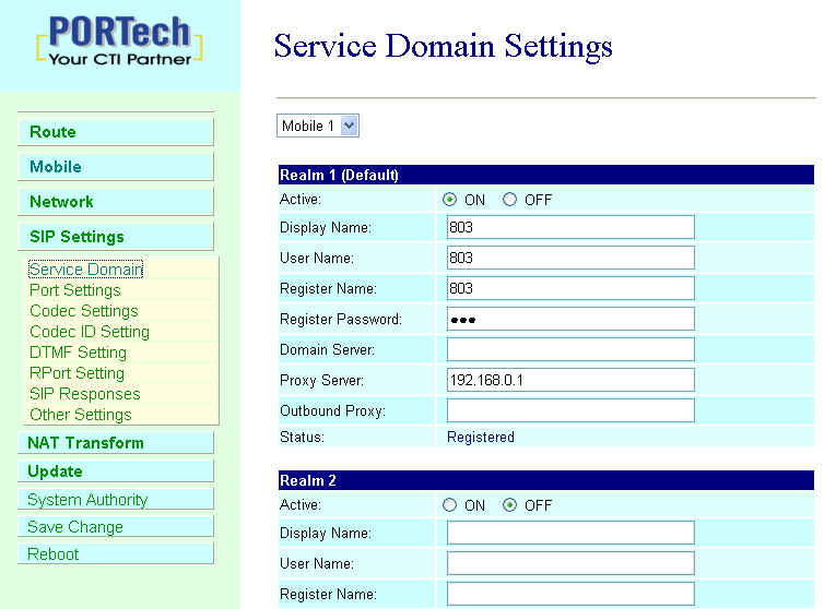 11.SIP Setting In SIP Setting you can setup the Service Domain,Port Settings,Codec Settings,RTP setting,rport Setting and Other SettingS.