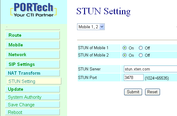 12. NAT Transform In NAT Trans. you can setup STUN and upnp function. These functions can help your VoIP device working properly behind NAT. 12.
