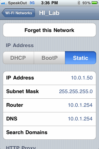 On the iphone or ipod Touch, set up and use a wireless connection that is on the same subnet as the DXL system.