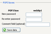 18 E-mail Change POP3 Box If you want to change the password or description of your POP3 box: 1 Click the corresponding Change icon in the list of your POP3 boxes