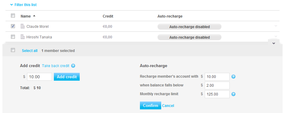 deducted from your Skype Manager credit balance. To enable Auto-recharge for one or more members: 1. Click Features in the toolbar. The credit allocations for your members are displayed by default. 2.